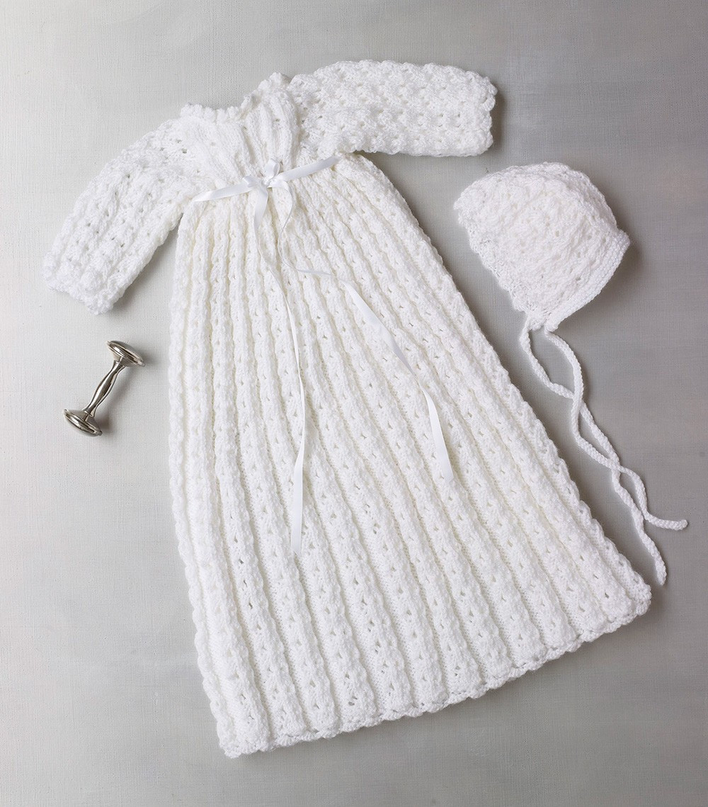 Knit Christening Gown And Bonnet Pattern ⋆ Knitting Bee
