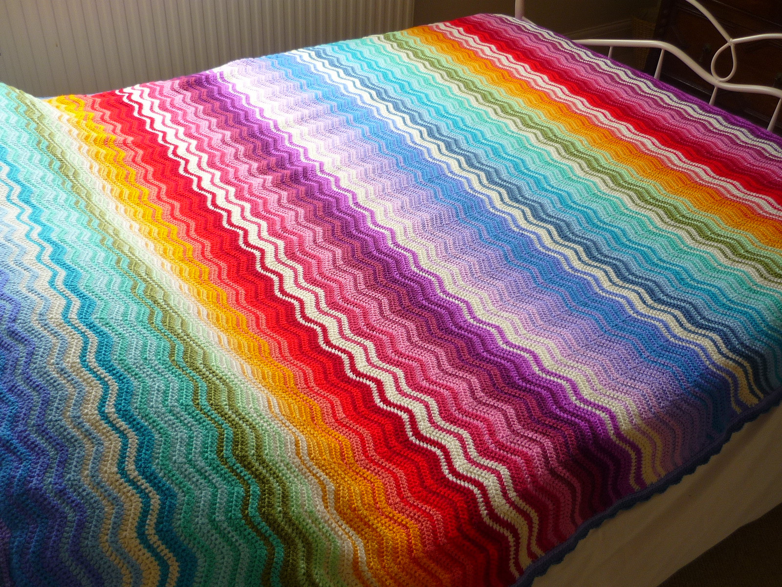 Lovely Knitknatknotuk Rainbow Ripple Throw Done Rainbow Crochet Blanket Of Great 40 Photos Rainbow Crochet Blanket