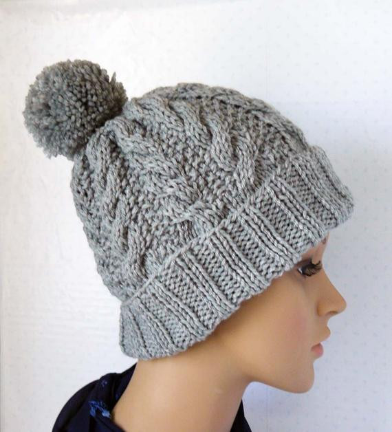 Lovely Knitted Cable Beanie Womens Chunky Knit Hats Pom Pom Knit Cable Knit Hat Of Fresh 40 Pics Cable Knit Hat