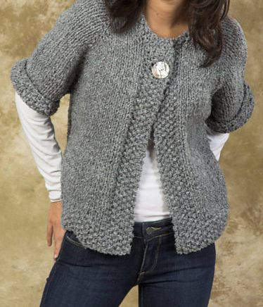 Knitting Pattern for Easy Quick Swing Coat – e button
