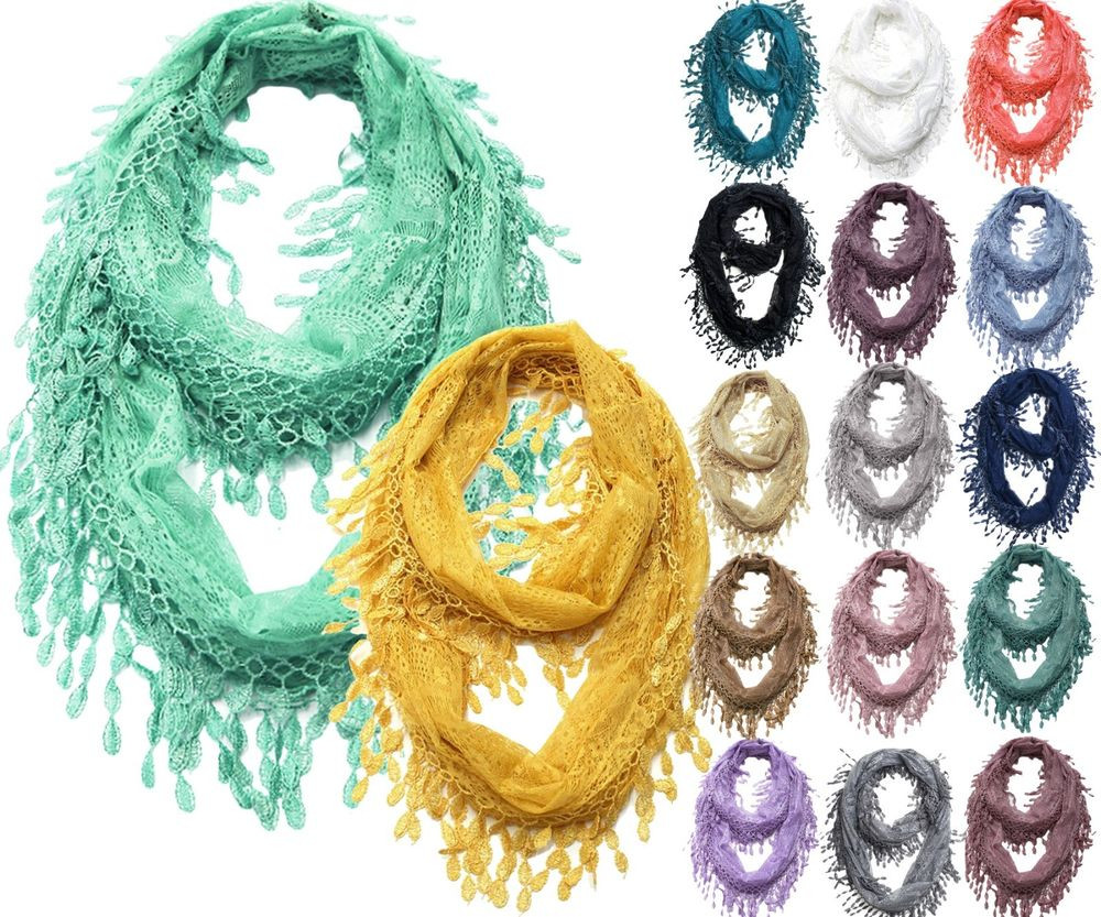 Lovely Lace Infinity Scarf with Long Fringe Lace Infinity Scarf Of Charming 45 Ideas Lace Infinity Scarf