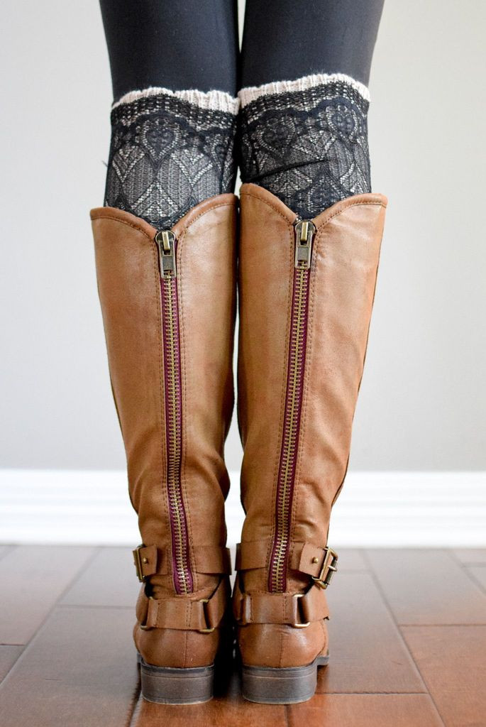 Lovely Latte & Black Lace Layered Boot Cuffs – Bootcuffsocks Lace Boot Cuffs Of Awesome 50 Pictures Lace Boot Cuffs
