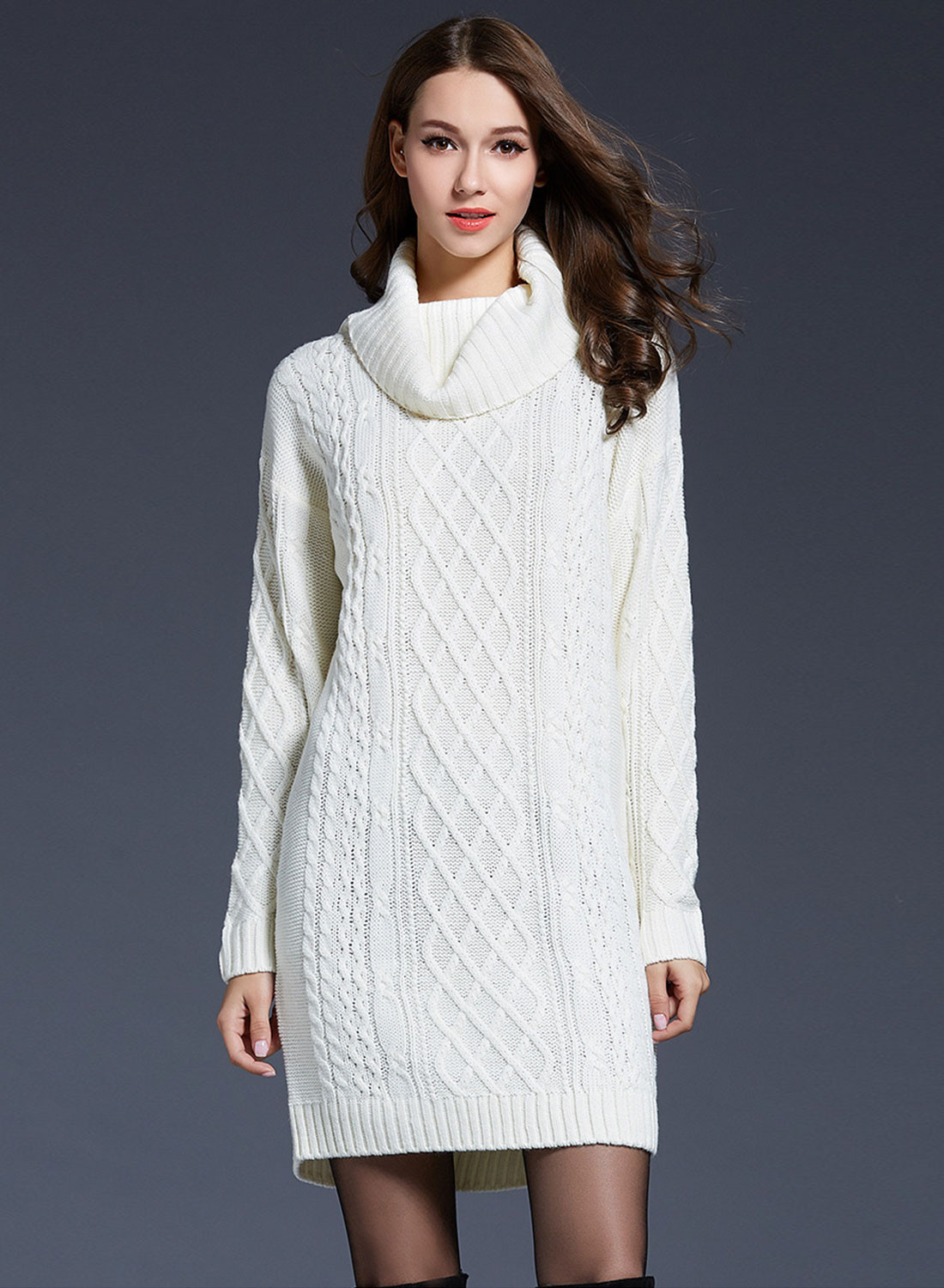 Long Sleeve Cowl Neck Lonline Knit Sweater NOVASHE