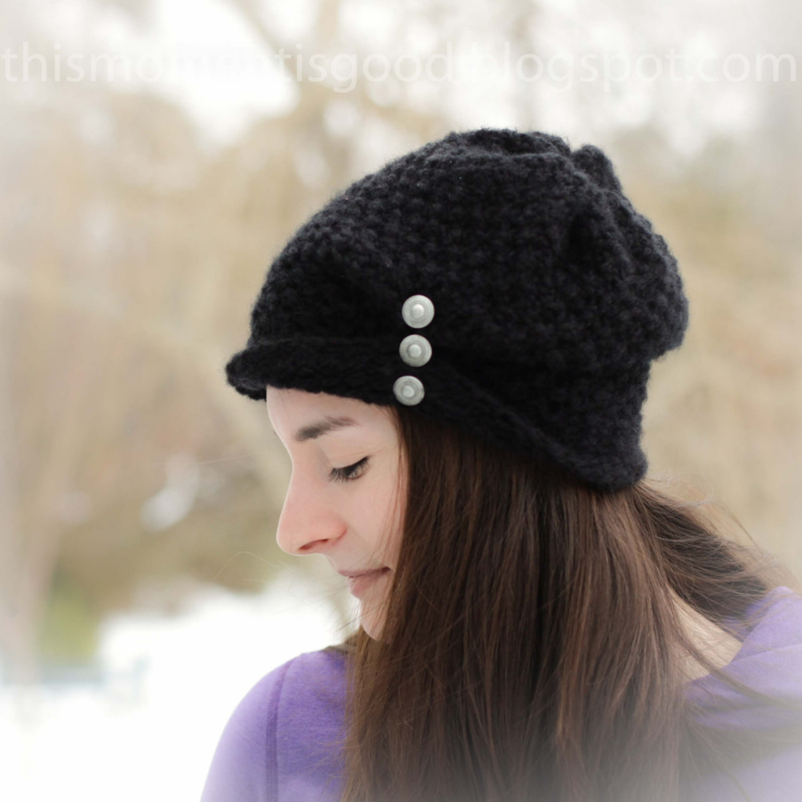 Lovely Loom Knit La S Folded Brim Hat with buttons Pattern Ladies Knitted Hats Of Adorable 50 Pictures Ladies Knitted Hats