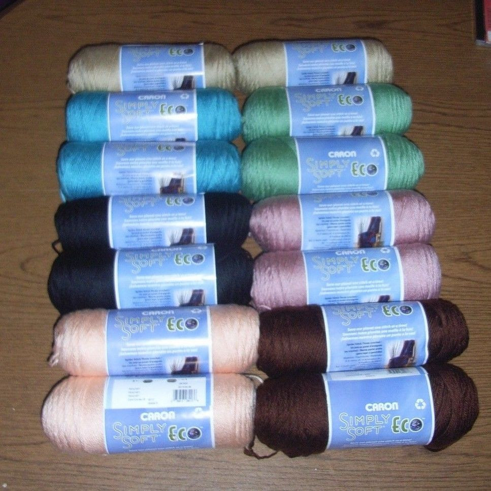 Lot of 2 Caron Simply Soft Eco Yarn You Choose Color