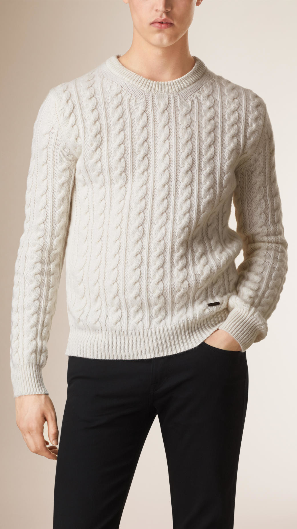 Lovely Lyst Burberry Cable Knit Wool Cashmere Sweater Natural Cable Knit Cardigan Sweater Of Wonderful 46 Models Cable Knit Cardigan Sweater