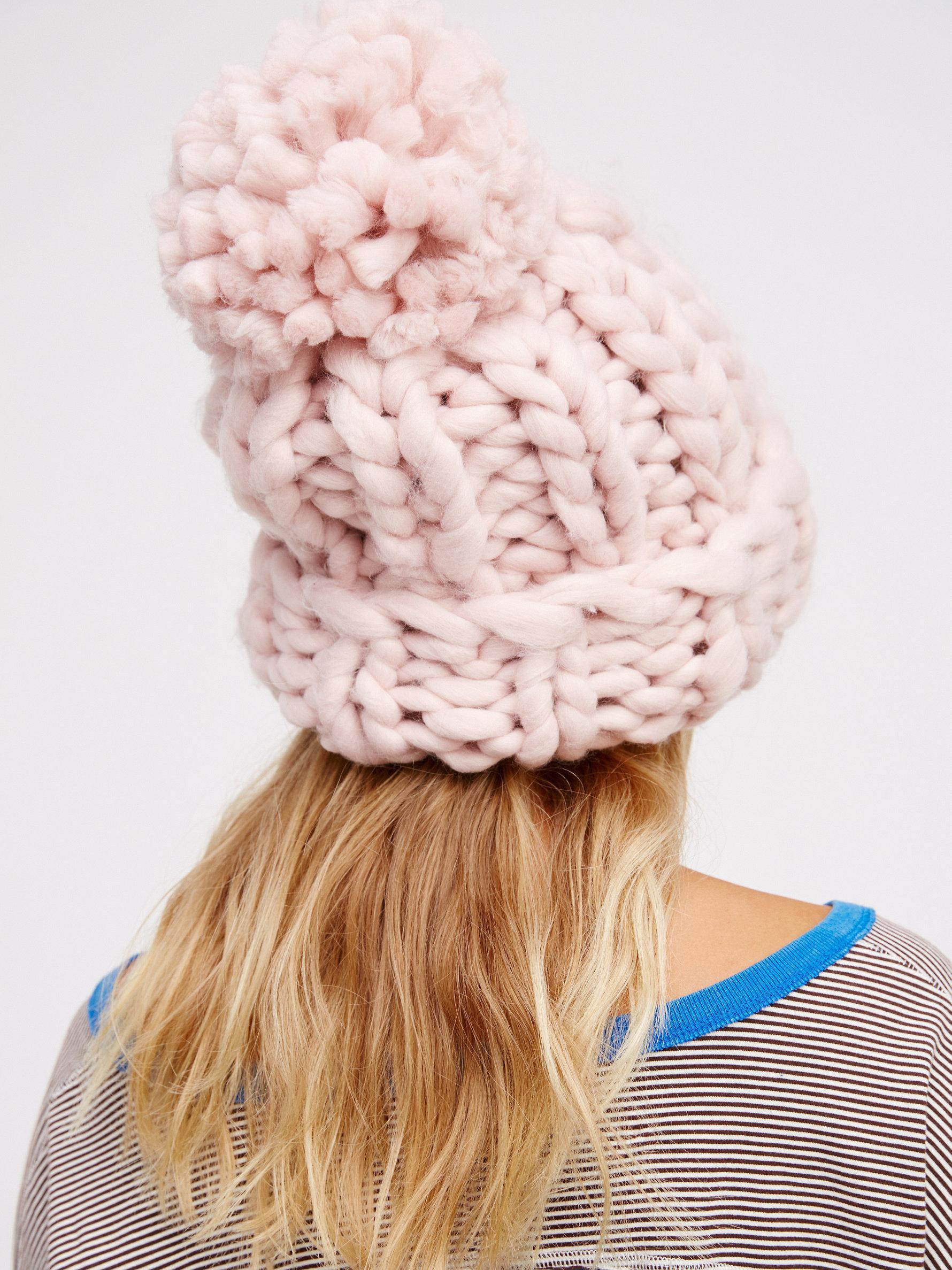 Lovely Lyst Free People Bobbi Chunky Pom Beanie In Pink Chunky Knit Hat Of Delightful 46 Pictures Chunky Knit Hat