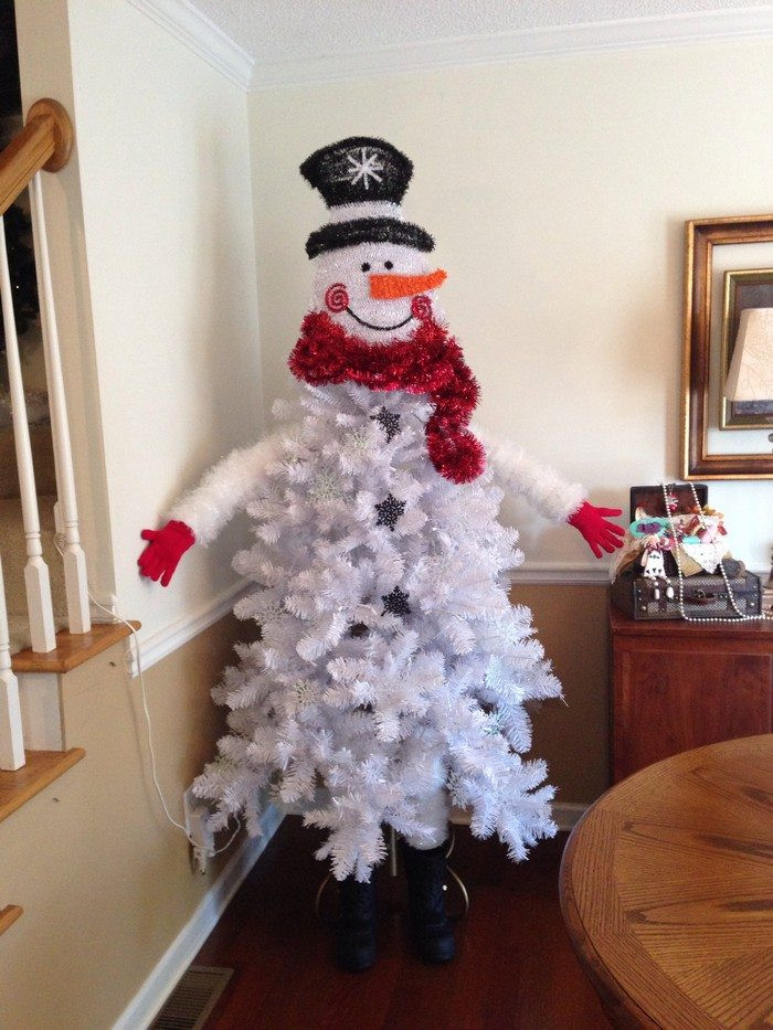 Lovely Make A Snowman Out Of A Christmas Tree Snowman Christmas Tree Decorations Of Adorable 46 Pictures Snowman Christmas Tree Decorations