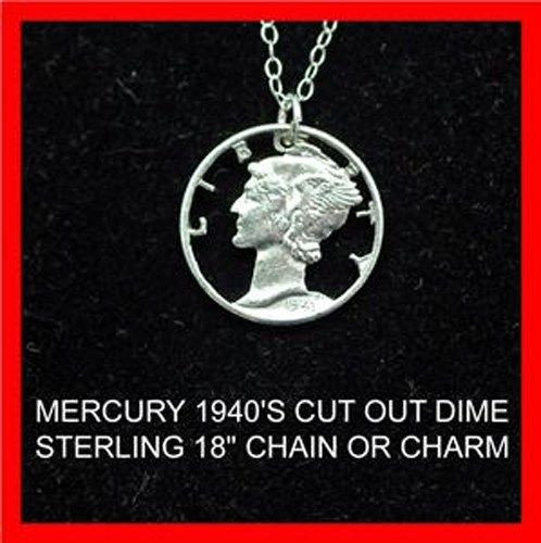 Mercury Lady Old Silver Dime Cut Coin Jewelry Necklace