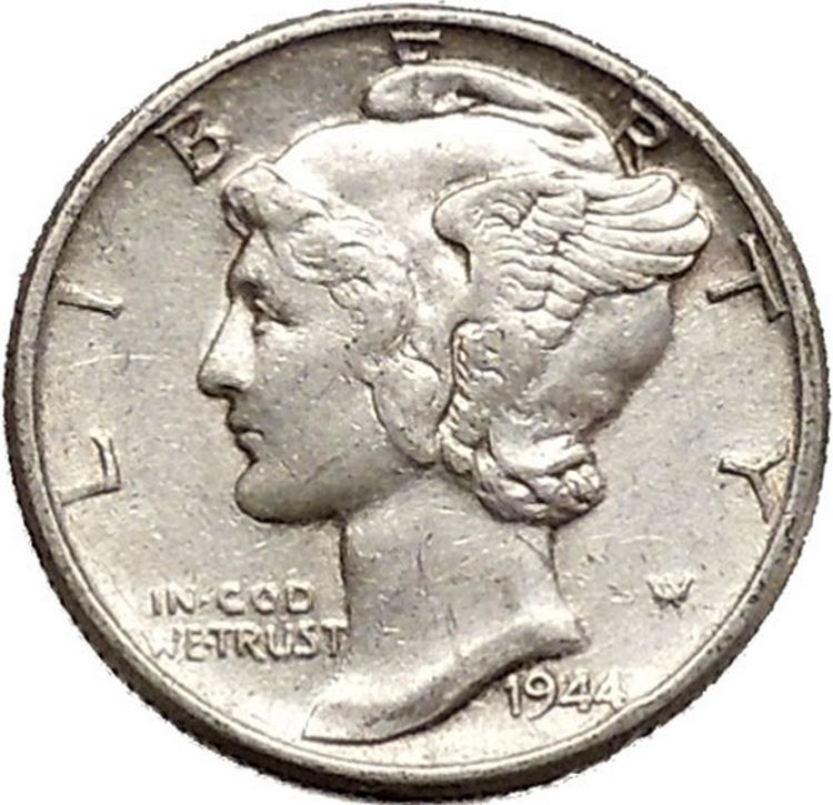 Mercury Winged Liberty Head 1944 Dime United States Silver