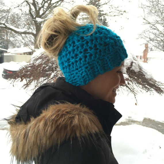 Lovely Messy Bun Ponytail Beanie Hat Crochet Hole top Hat Beanie with Hole for Bun Of Great 40 Pics Beanie with Hole for Bun
