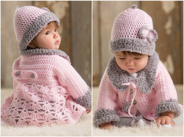 Lovely Modern Baby Set with Sweater – Crochet Free Pattern Crochet Baby Sweater Sets Of Charming 43 Photos Crochet Baby Sweater Sets