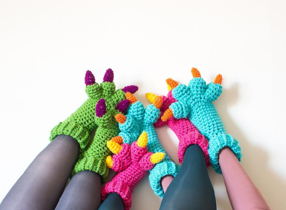 Lovely Monster Slippers Crochet Pattern by Knits for Life Crochet Monster Slippers Of Awesome Flamingo Slippers Crochet Monster Slippers Crochet Monster Slippers