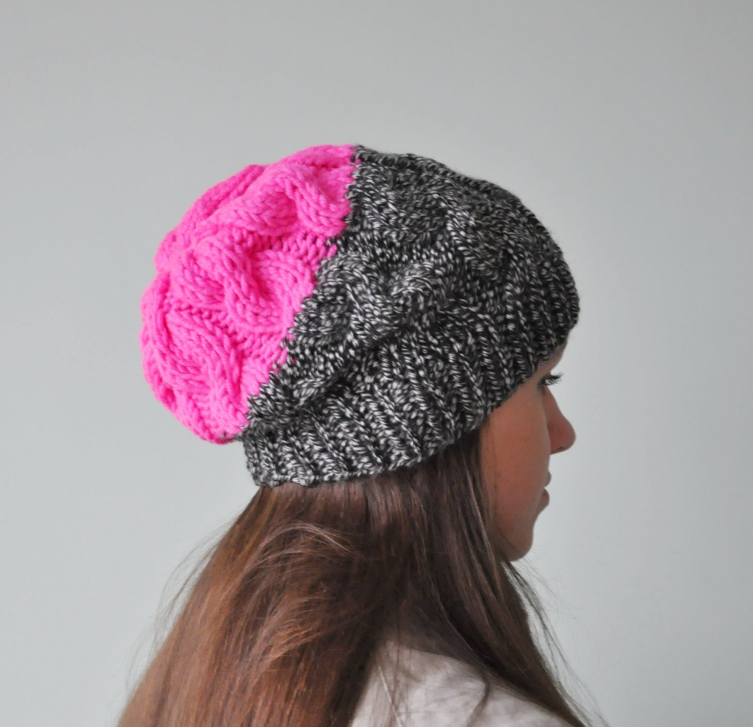 Neon Pink Cable Knit Beanie Hat Chunky Knit Hat by SOVAknits
