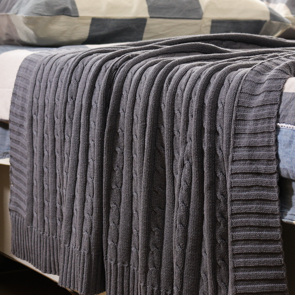 NEW Cotton Cable Knit Blanket Sofa Super Soft Cozy High