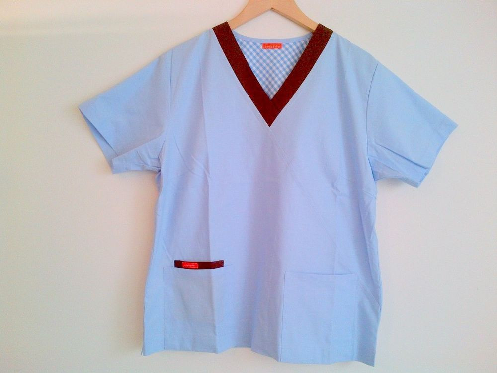 New Cotton Medical Uniforms Mock Scrubs Blue Shirt
