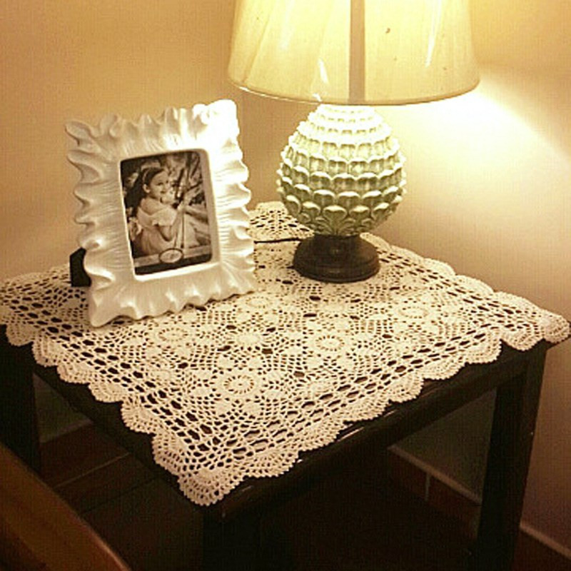 New Cotton Tablecloth Vintage Crochet Table Cover Square