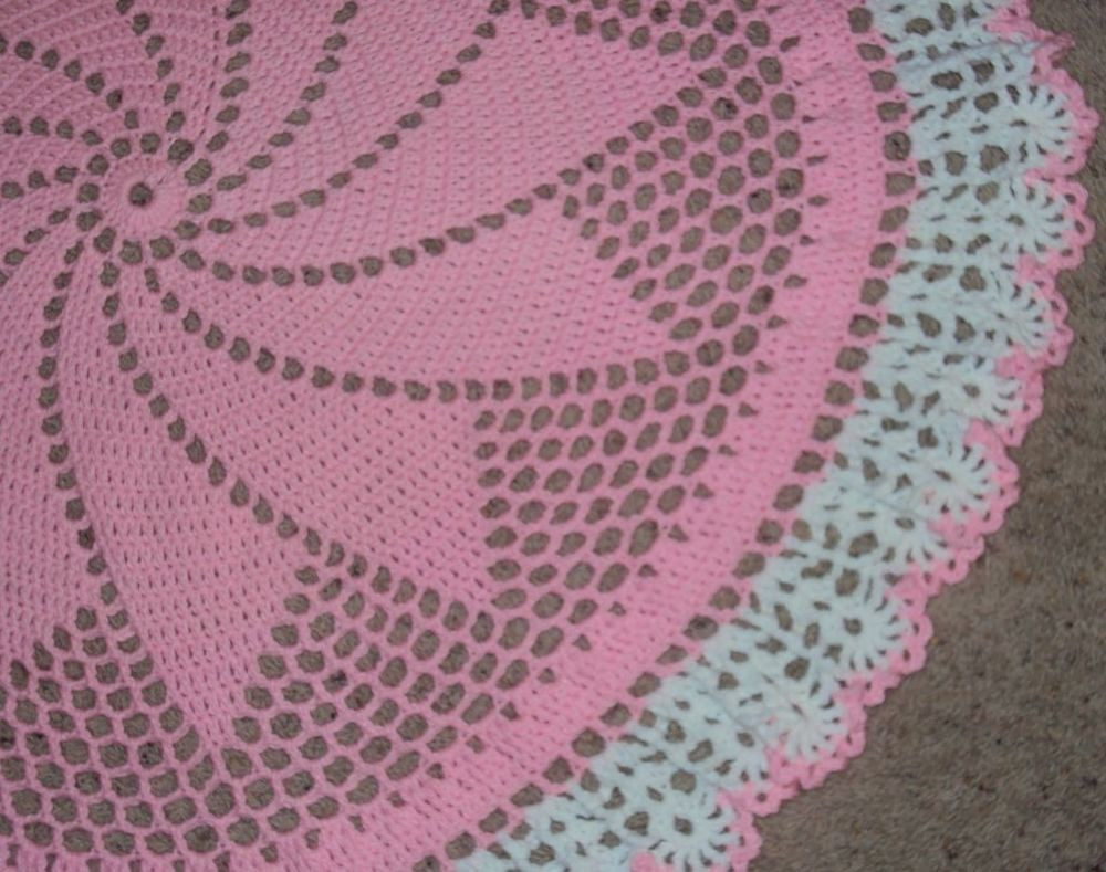 Lovely New Hand Crochet Round Lacy Pink & White Baby Afghan Crochet Round Baby Blanket Of Luxury 42 Ideas Crochet Round Baby Blanket