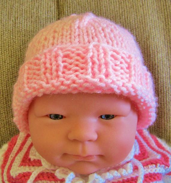 Lovely Newborn Knit Hat Pink Baby Hat Beanie Girl Hospital Hat Knitting Baby Hats for Hospitals Of Beautiful 50 Pics Knitting Baby Hats for Hospitals