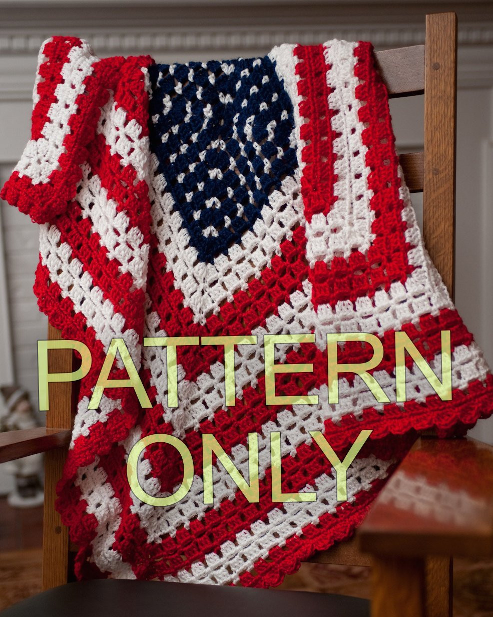 Lovely Pattern for American Patriotic Flag Baby Blanket or Throw Free American Flag Crochet Pattern Of Delightful 50 Pictures Free American Flag Crochet Pattern