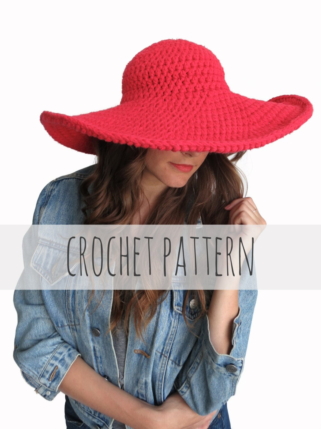 PATTERN for Crochet Floppy Hat Sun Wide Brim Derby Summer
