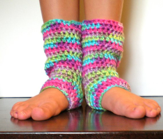 PATTERN Kid Yoga Socks Leg Warmers Easy Crochet Dance