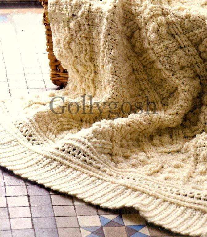 PDF Crochet Pattern for a Cabled and Textured Aran Throw