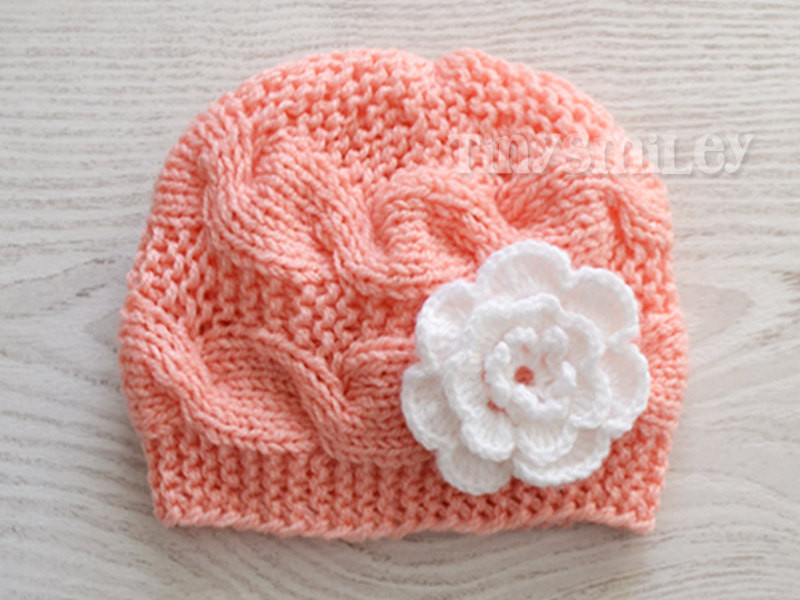 Lovely Peach Cable Knit Baby Beanie Knit Cable Baby Cute Baby Hat Knitting Baby Hats for Hospitals Of Beautiful 50 Pics Knitting Baby Hats for Hospitals