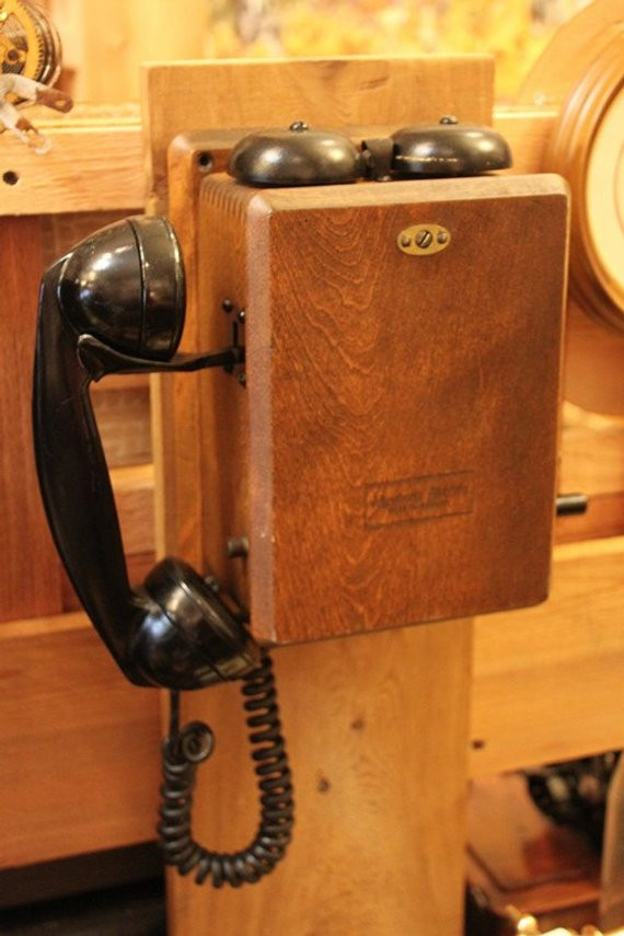 phone vintage wall wooden telephone made