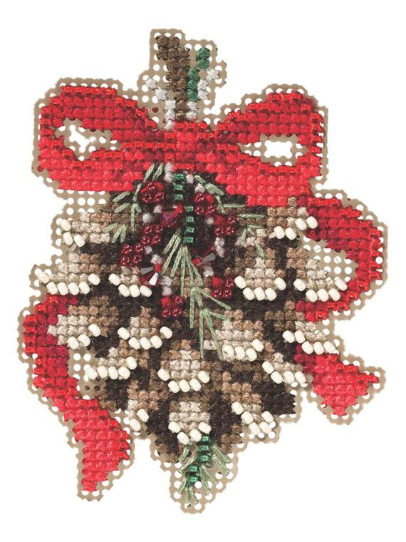 Pinecone Beaded Counted Cross Stitch Christmas Ornament Kit