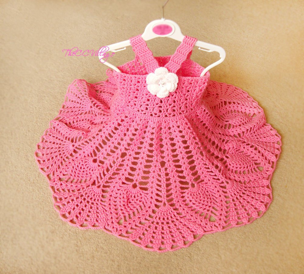 pink crochet baby dress handmade girl