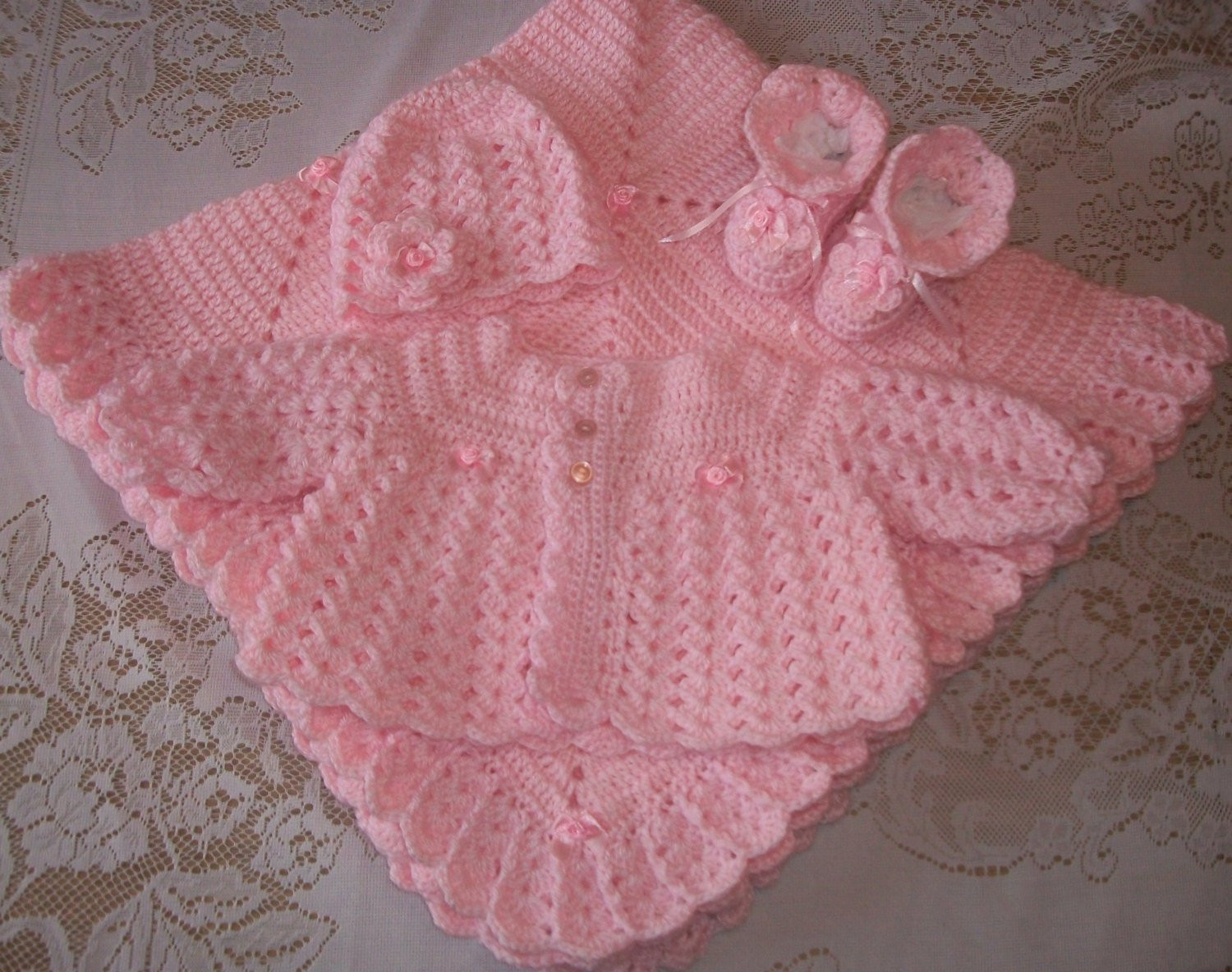 Lovely Pink Crochet Baby Girl Sweater Set Layette Perfect for Baby Crochet Baby Sets Of Amazing 49 Models Crochet Baby Sets