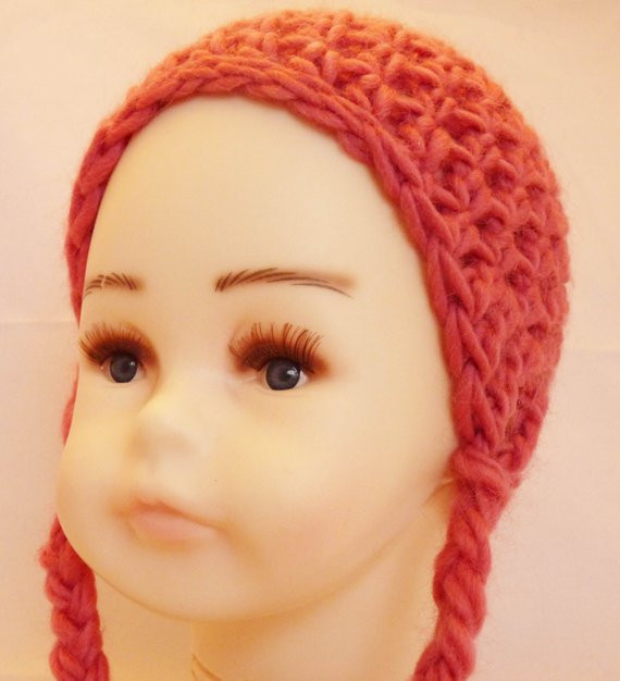 Lovely Pink Ear Flap Hat with Braids Newborn Wool Hat Baby Ear Baby Hat with Ear Flaps Of Perfect 41 Pics Baby Hat with Ear Flaps