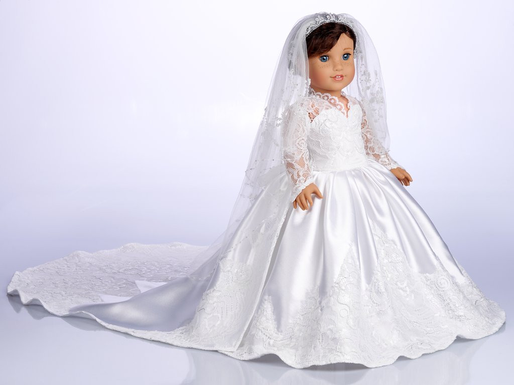Lovely Princess Kate Custom Wedding Gown for 18 Inch American American Girl Doll Wedding Dress Of Elegant Handmade 18 Doll Wedding Dress Five Piece by Creationsbynoveda American Girl Doll Wedding Dress