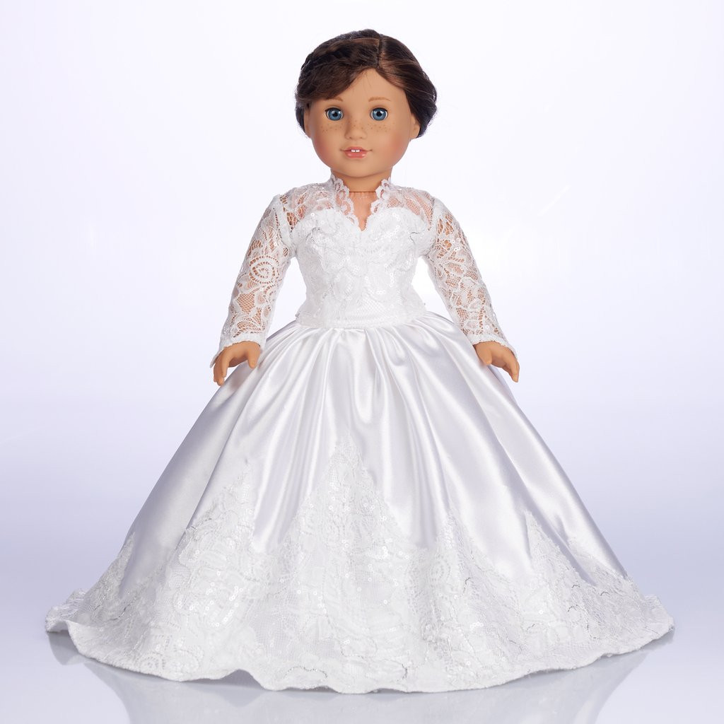 Lovely Princess Kate Custom Wedding Gown for 18 Inch American American Girl Doll Wedding Dress Of Beautiful American Girl Doll Wedding Dress Satin and Silver American Girl Doll Wedding Dress