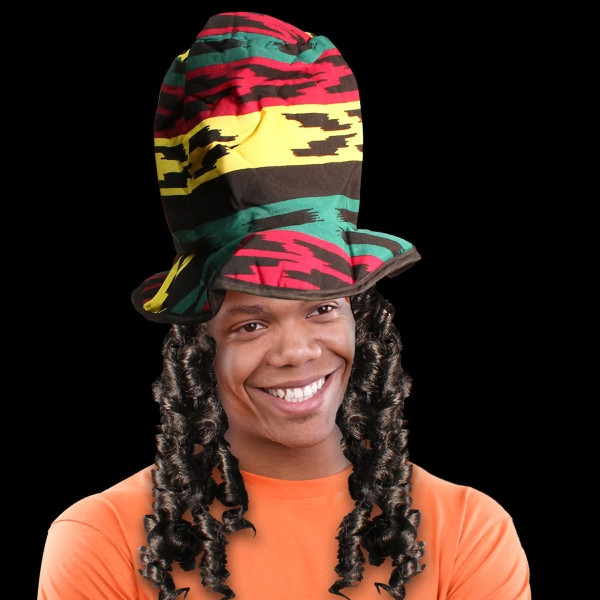Printed Rasta Novelty Costume Top Hat with Dreads USimprints