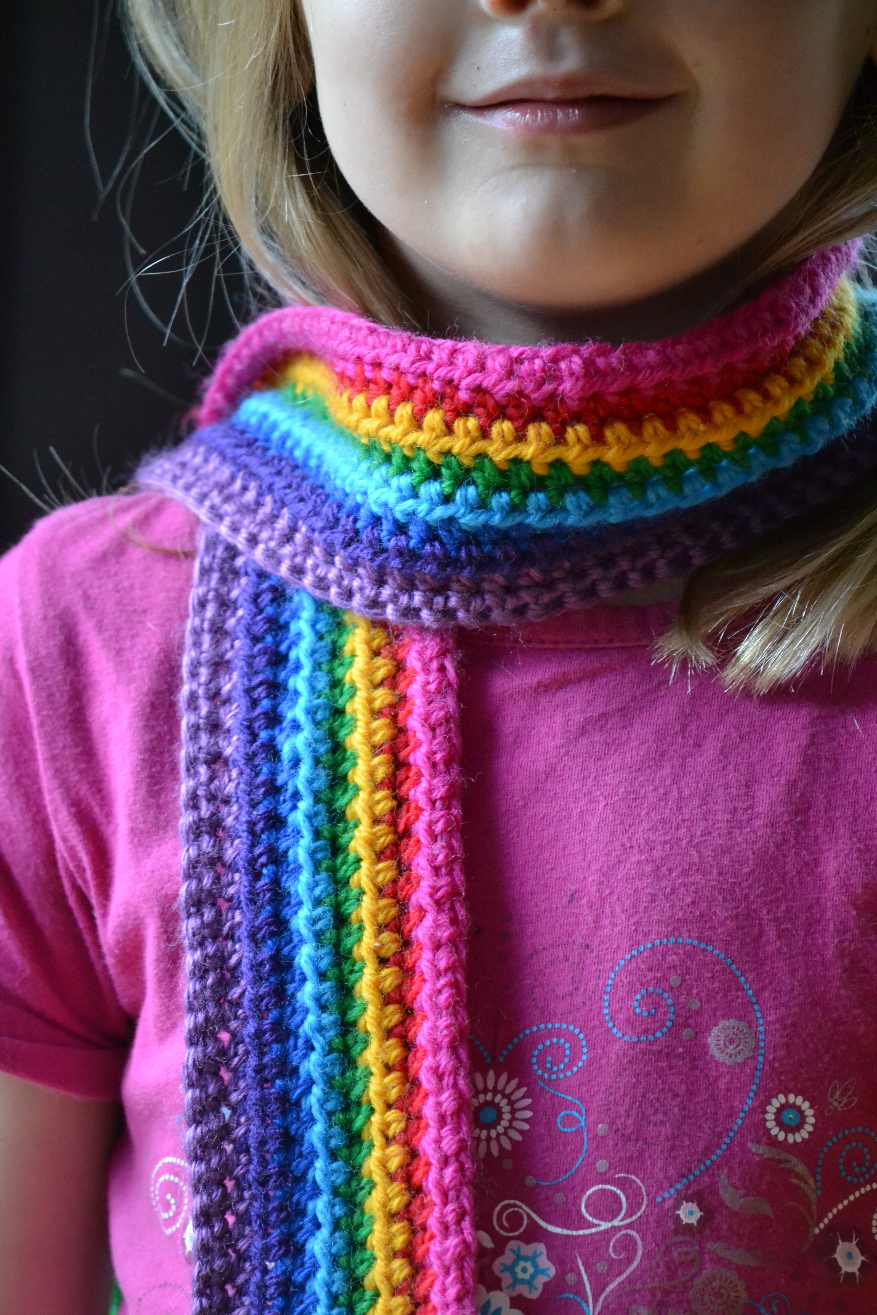 Lovely Rainbow Scarf Tutorial – the Green Dragonfly Child Scarf Crochet Pattern Of Top 41 Images Child Scarf Crochet Pattern