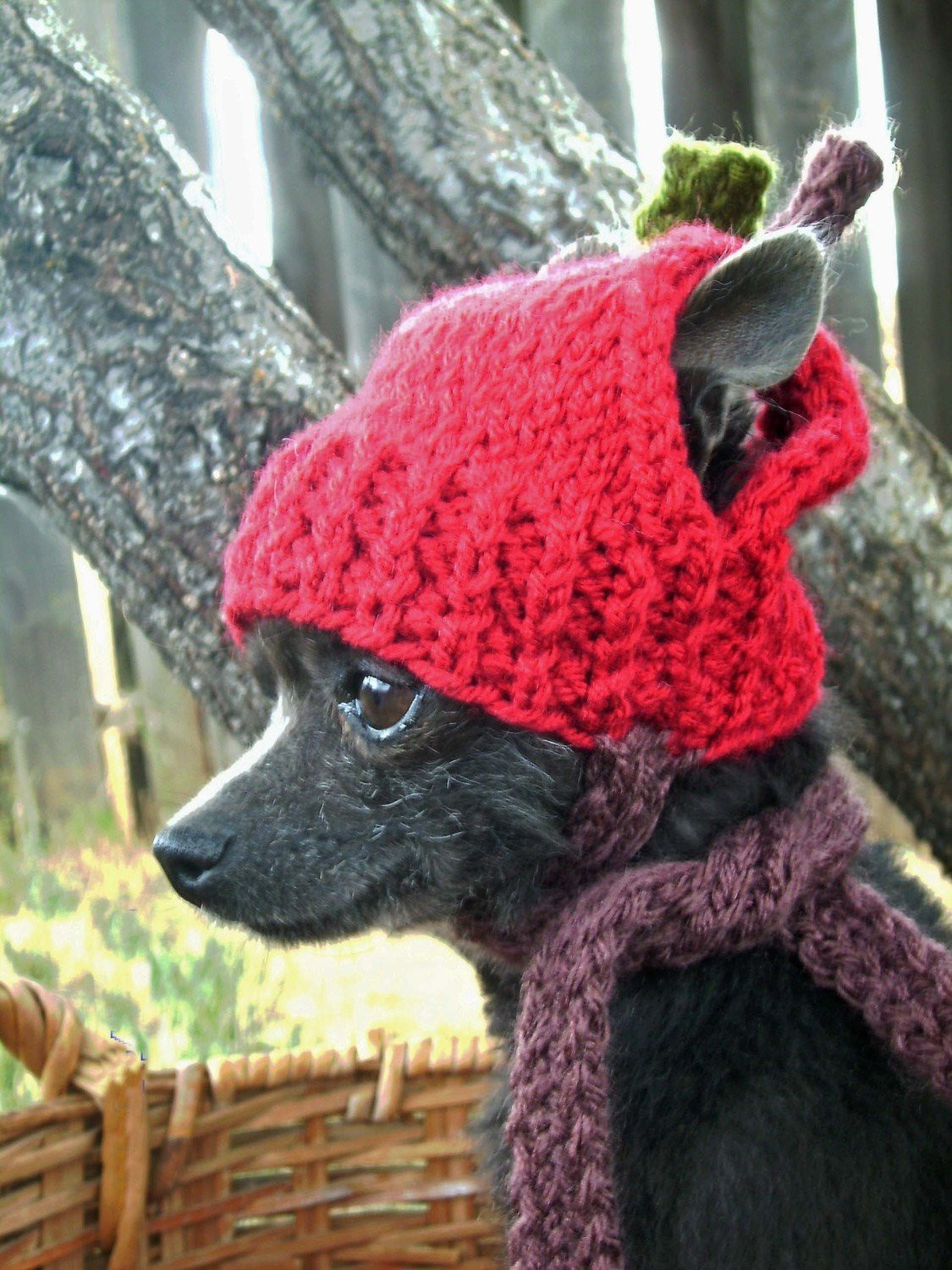 RED APPLE Hand Knit Dog hat by anywear on Etsy