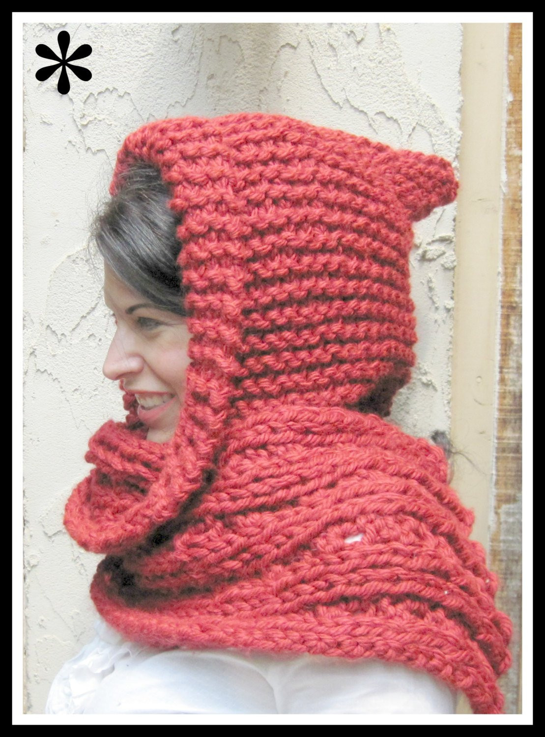 Red Hooded Scarf in Bulky Yarn Knitting Pattern Adult Size