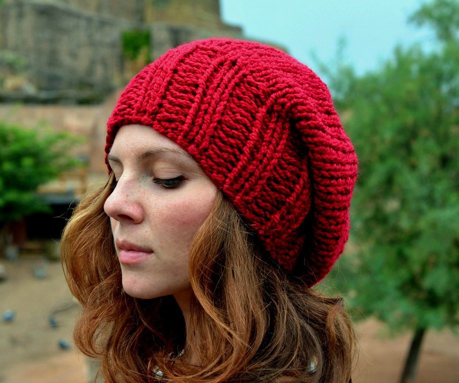 Lovely Red Slouchy Beanie Women S Slouchy Hat Hand Knit Hat Red Slouchy Beanie Of New 50 Models Red Slouchy Beanie