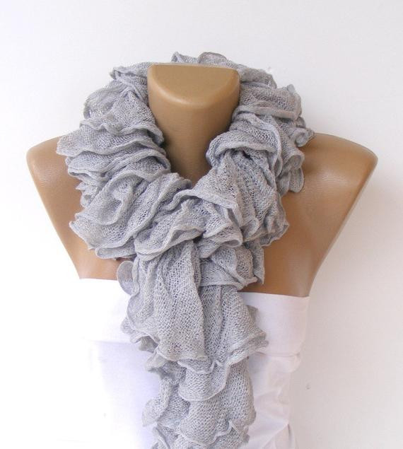 Lovely Ruffle Scarf Knitted Scarves 2014 Scarf Trends Cotton Knit Ruffle Scarf Of Marvelous 50 Pics Knit Ruffle Scarf