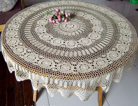 SALE Handmade Crocheted Tablecloth by TableclothShop on Etsy