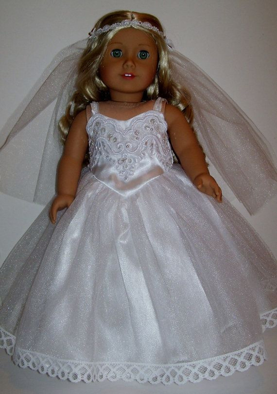 Lovely Satin Wedding Gown Fits American Girl and by American Girl Doll Wedding Dress Of Beautiful American Girl Doll Wedding Dress Satin and Silver American Girl Doll Wedding Dress