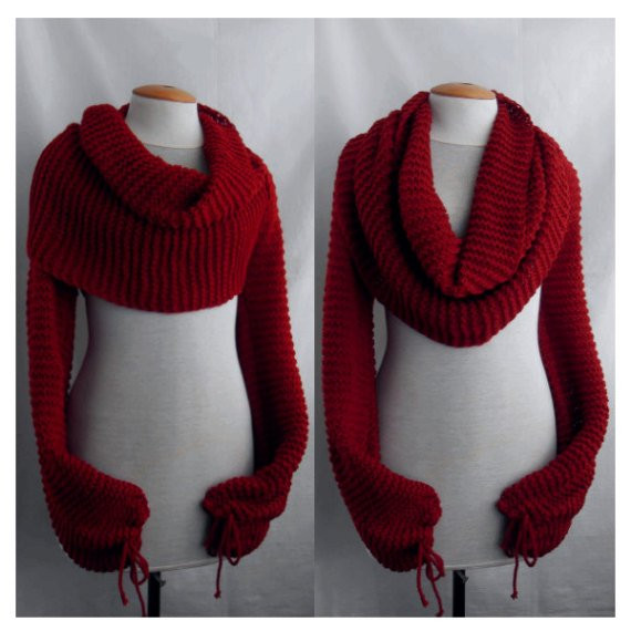 Lovely Scarf Shawl with Sleeves at Both Ends In Dark Red Free Scarf with Sleeves Of Lovely 40 Models Scarf with Sleeves