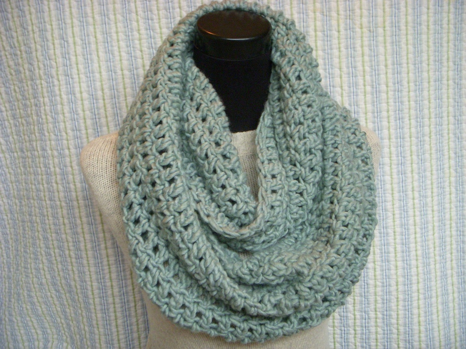 Lovely Seafom Infinity Scarf Pale Green Crochet Cowl Aqua Chunky Chunky Scarf Pattern Of Marvelous 49 Photos Chunky Scarf Pattern