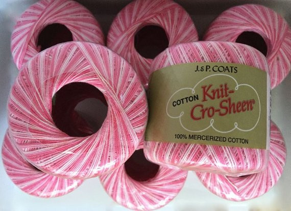 Shaded Pinks Variegated Cotton Knit Cro Sheen Crochet