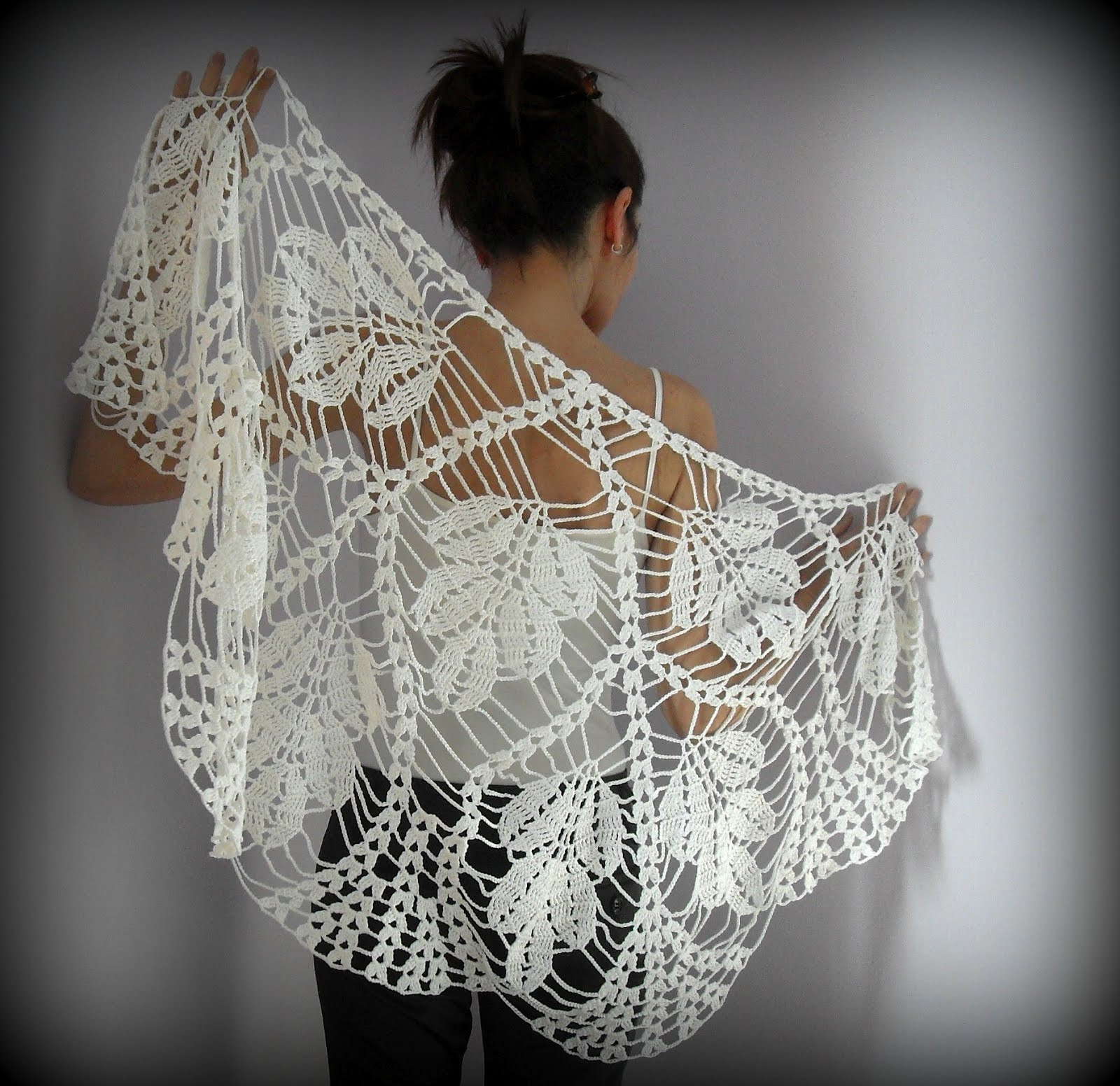 Lovely Silvia66 White Leaves Hand Crochet Lace Wrap Shawl Crochet Lace Of Amazing 43 Photos Crochet Lace