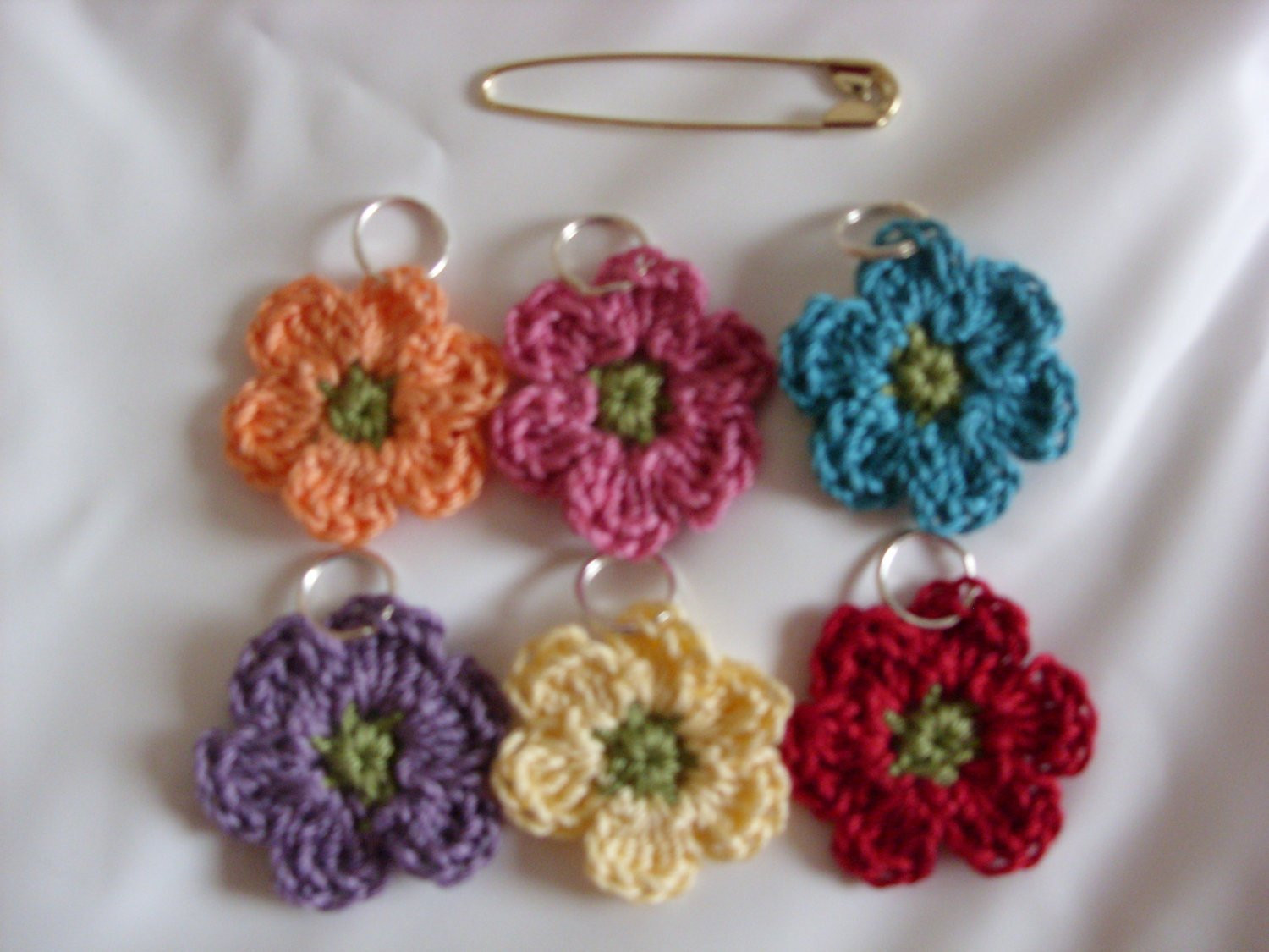 Lovely Six Crocheted Stitch Markers Knitting Stitch Markers Flower Knitting Stitch Markers Of Gorgeous 48 Models Knitting Stitch Markers