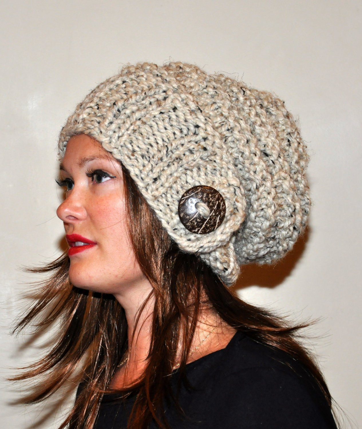 Lovely Slouch Hat Slouchy Beanie Wool button Hand Knit Winter Knit Slouchy Beanie Of Lovely 42 Images Knit Slouchy Beanie