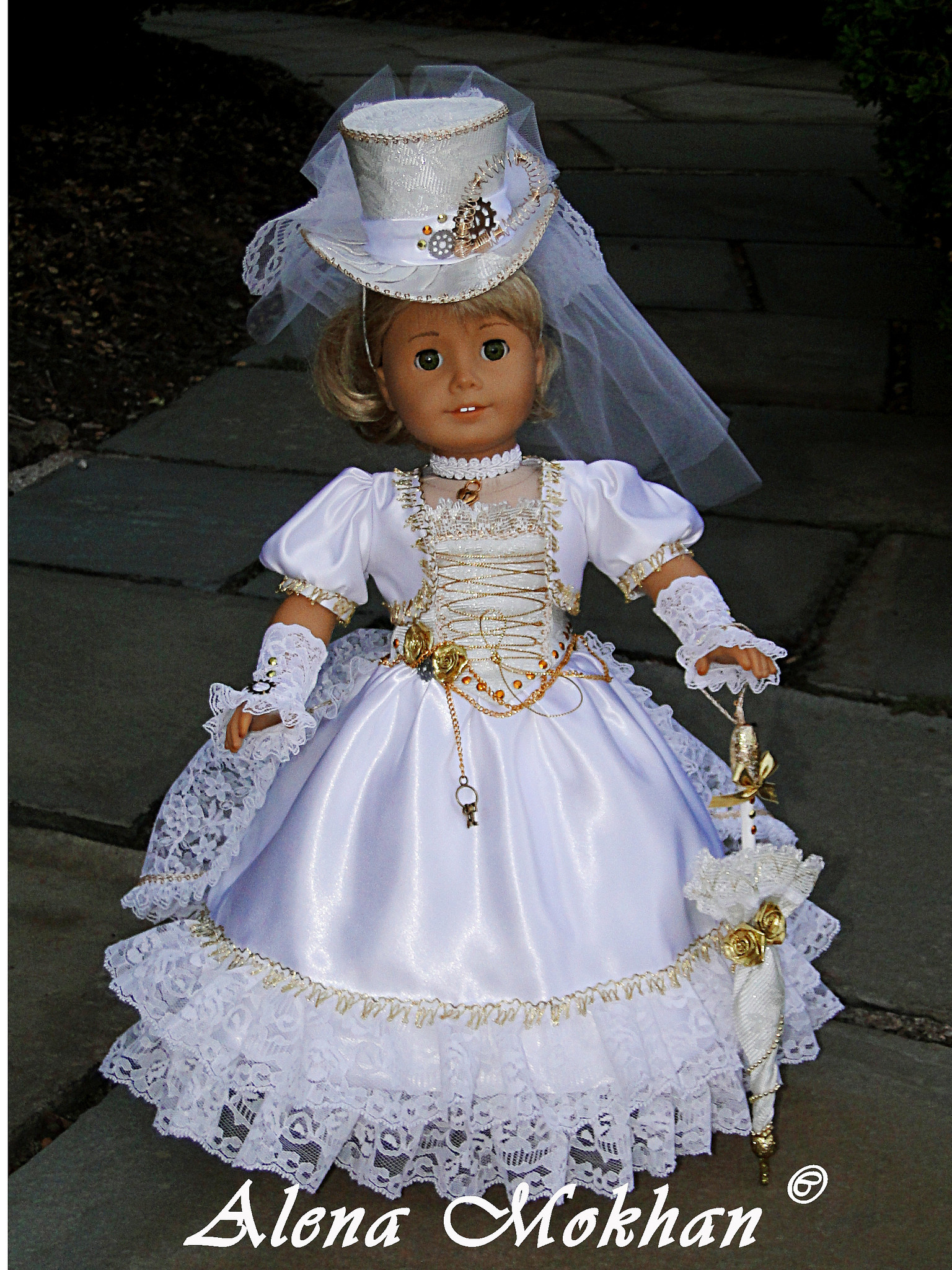Lovely Steampunk Victorian Wedding Dress for American Girl or O American Girl Doll Wedding Dress Of Beautiful American Girl Doll Wedding Dress Satin and Silver American Girl Doll Wedding Dress